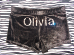 Velour personalised shorts personalised in SILVER rhinestone double font